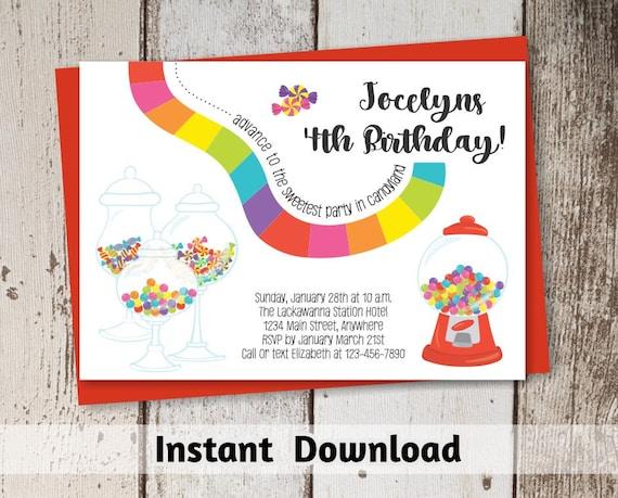 Candyland Invitation Download Printable Candyland Party