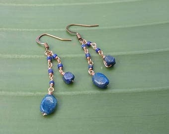 Lapis and Copper Wire-Wrapped Earrings