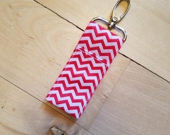 Red Chevron Keychain Chapstick Holder