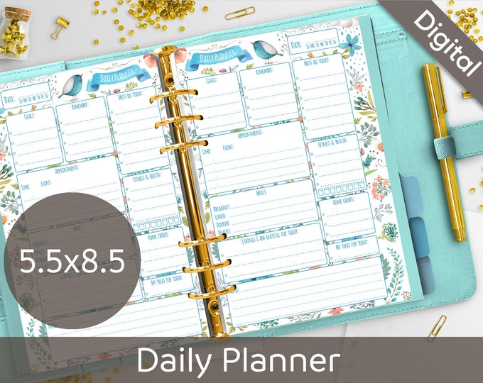 photo about Diy Daily Planner named 5.5 x 8.5 Each day Planner Printable, 50 percent dimension printable refills, 50 percent Letter, Junior measurement, Arinne Blue Fowl Do-it-yourself Planner PDF Instantaneous Obtain