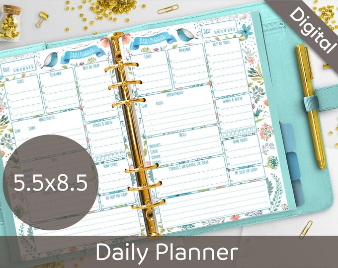 5.5 x 8.5 Daily Planner Printable, Half size printable refills, Half Letter, Junior size, Arinne Blue Bird DIY Planner PDF Instant Download