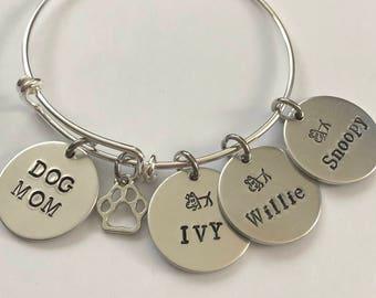 Dog Mom bracelet with dog name