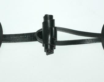 """Black Leather Toggle. Adjustable 3""""- 6"""""""