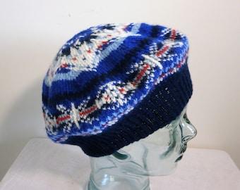 Hat - Fair Isle hand knitted beret/ tam