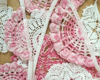 Vintage Pink Crochet Doily Bunting Wedding Party Decoration Garland 3.5m