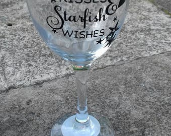 Mermaid Kisses and Starfish Wishes Wine Glass, Mermaid Fan, Gifts For Her, Ocean Lovers, Vinyl Wine Glasses, Christmas Gifts, Birthday Gifts