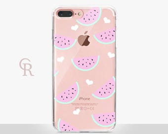 Watermelon Clear Phone Case -Clear Case-For iPhone 8, 8 Plus, X, iPhone 7 Plus, 7, SE, 5, 6S Plus, 6S,6 Plus, Samsung S8,S8 Plus,Transparent
