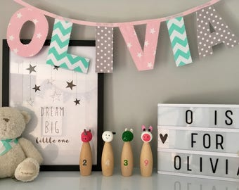 Pink, Mint Green and Grey Name Bunting