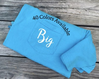 Big Little Sorority Comfort Colors Pocket T-shirt, Big Little Reveal Shirts-Embroidered Biggie/Smalls Reveal Sorority Family Shirt