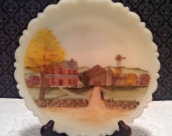 """Vintage 8"""" Collector Plate, Fenton Custard Satin Glass, """"Down Home,"""" Hand Painted, Signed, Numbered, With Box and Certificate, Circa 1980s"""