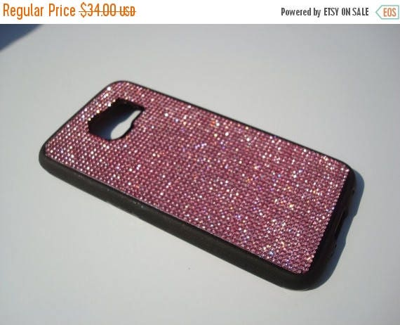 Sale Galaxy S6 Pink Diamond Crystals on Black Rubber Case. Velvet/Silk Pouch Bag Included, Genuine Rangsee Crystal Cases.
