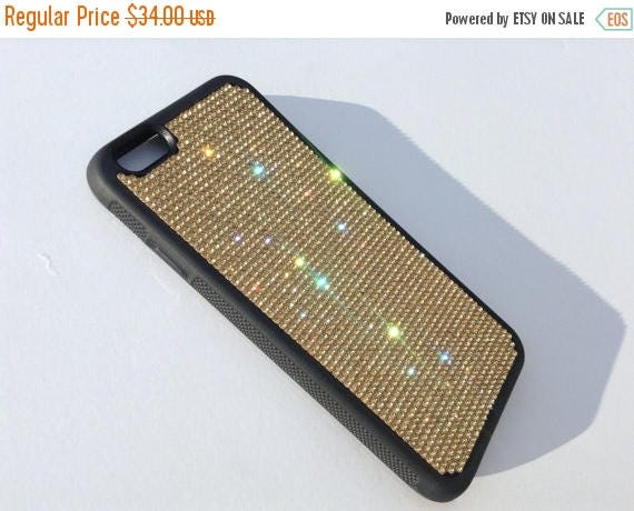 """Sale iPhone 6 / 6s  4.7"""" Gold Topaz Rhinestone Crystals on Black Rubber Case. Velvet/Silk Pouch Bag Included, Genuine Rangsee Crystal Cases"""
