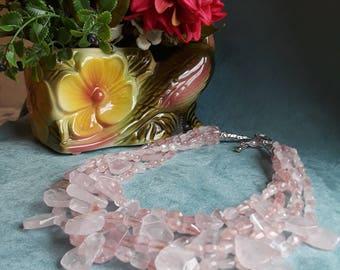 Six strand rose quartz necklace designer made