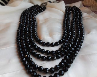 Black onyx faceted five strand necklace