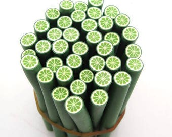 1 X lime Cane fimo polymer clay