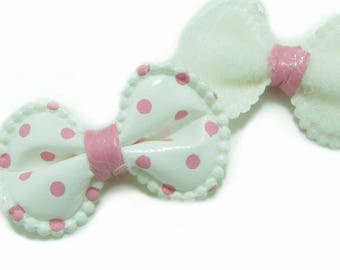 1 x bow flood white polka dots pink