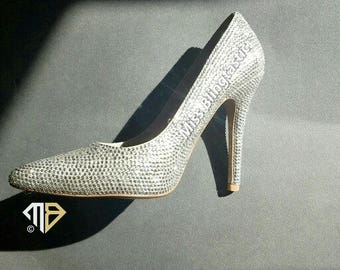 Customised Crystal Embellished High Heel Shoes - Crystal Shoes - Bedazzled Shoes - Diamante Wedding Shoes - Crystal Stilleto High Heel Shoes