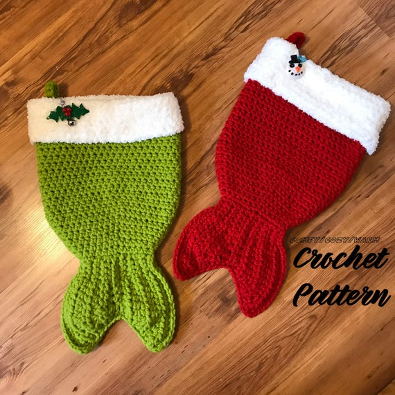Mermaid Tail Christmas Stocking crochet PATTERN ONLY