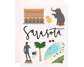 Illustrated Sarasota Florida Greeting Card