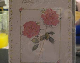 Happy Anniversary Card with 2 Roses on
