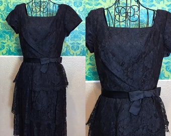 Vintage 1960s Dress - Black Lace Ruffled Party Dress - XS S