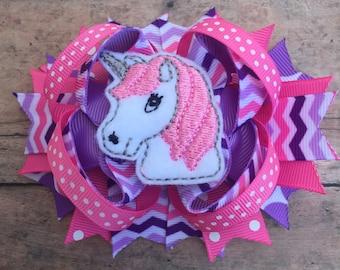 Unicorn Hair Bow - Unicorn Bow - Unicorn hair clip - Unicorn - Birthday Bow - Pink Unicorn - Purple Unicorn Bow - Unicorn Hair Accessory
