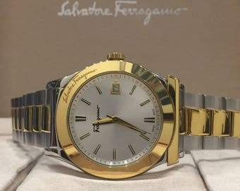 Gold & Steel Salvatore Ferragamo Quartz Gents' Wristwatch. Box, Papers, Links.