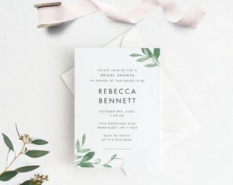 Modern Botanical Bridal Shower Invitation Printable, Printable Bridal Shower Invites,Ready to Print PDF,Letter or A4 Size (Item code: P1067)