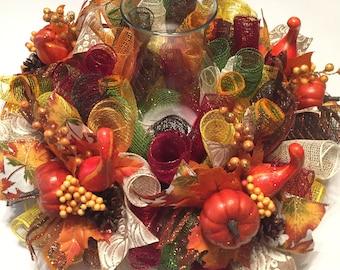 Autumn/Fall Lg. Mesh Centerpiece