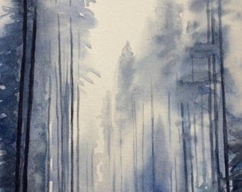 Pine tree painting, snowy trees, forest painting, Misty trees, Misty pines, Winter trees, winter landscape, PNW, watercolor trees, trees