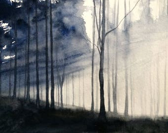 Forest painting, Misty forest, Misty trees, watercolor trees, tree painting,Tree watercolor, sunlight through trees, watercolor painting