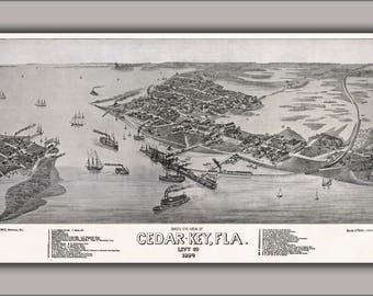 Poster, Many Sizes Available; Bird'S Eye View Of Cedar Key, Florida C1884