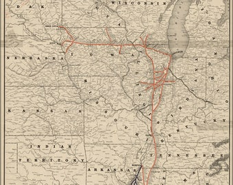 Poster, Many Sizes Available; Map Of Illinois Central Railroad 1892