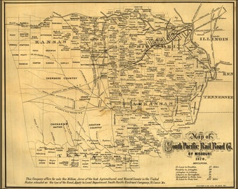Poster, Many Sizes Available; Map Of South Pacific Railroad Co 1870 Arkansas Texas