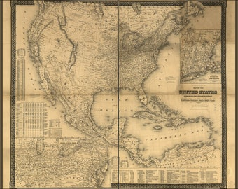 Poster, Many Sizes Available; Map Of The United States, Canada, Mexico, Central America, 1861