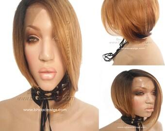 Auburn blonde mix bob short lace front wig Slim bob lace wig bob cut bob Nicki Minaj wig katy perry hair lace front wig drag queen lace wig