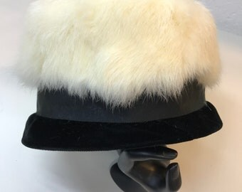 White Fur Black Velvet Vintage Pillbox Fashion Women's Hat - Black Tie Event - High Fashion Style