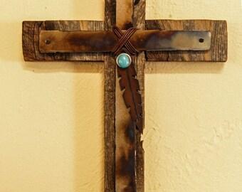 Heat treated Metal cross recycled wood