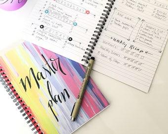 To do list notebook, desk accessory, productivity log, bullet journal, spiral notebook, spiral journal, lined notebook, pretty notebook