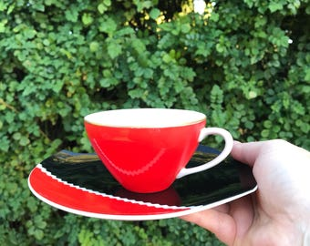 Mid century tea cup and saucer bold red and black with ric rac stripe