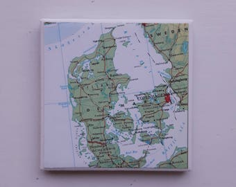 "Denmark Map Coaster, Copenhagen, Scandinavia, 4"" square Decoupaged Ceramic, One of a Kind, Repurposed"