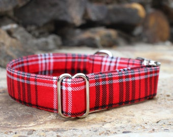 Red Plaid Collar | Male Dog Collar | Fabric Dog Collar |  Dog Collar | Large Dog Collar | Small Dog Collar | Pet Collar | Winter Dog Collar