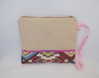 Ecru clutch and geometric spring - summer - purse - pouch - with handle