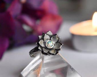 Opal Lotus Ring. Sterling Silver Lotus Ring. Sterling Silver Opal Ring.