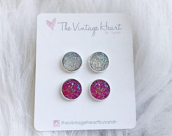 Clear and pink druzy stud earrings, druzy, faux druzy, stud earrings, gift for her, bridesmaid gift, wedding party gift