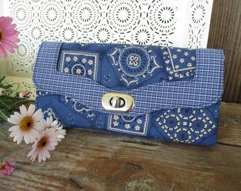 Western Accessories, Ladies Clutch Wallet, Blue Bandanna Organizer Wallet, Necessary Wallet, Country Fabric Accordion Wallet, Emmaline Bags
