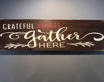 Family hearts hand made distressed brown tone wall decor sign almost 3ft wide!