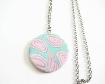 Disc Necklace pink-green polymer clay