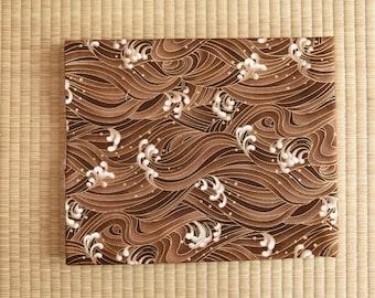Japan kimono sakura yukata ocean Fabric  1/2 yard brown