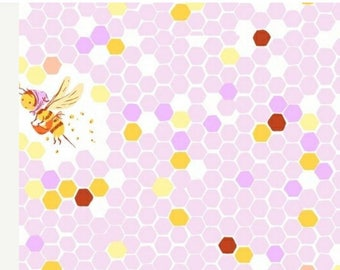 Heather Ross Fabric Briar Rose Hex Bees Muted Hues Lilac and Pink Whimsical Out of Print Very Hard to Find By the Half Yard Super Cute!